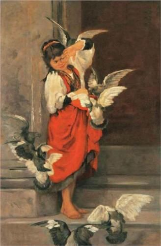 The girl with pigeons - Polychronis Lembesis, Greek painter 1848-1913