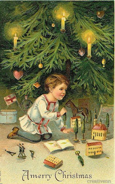 Дети на старинных рождественских открытках