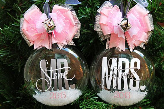 Personalized Wedding Ornament SET Bride Groom Marriage Our First Christmas Custom Christmas Glass Ornament Ball