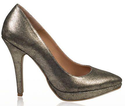 Pantofi sclipitori din piele naturala aurii cu toc inalt si platforma mica