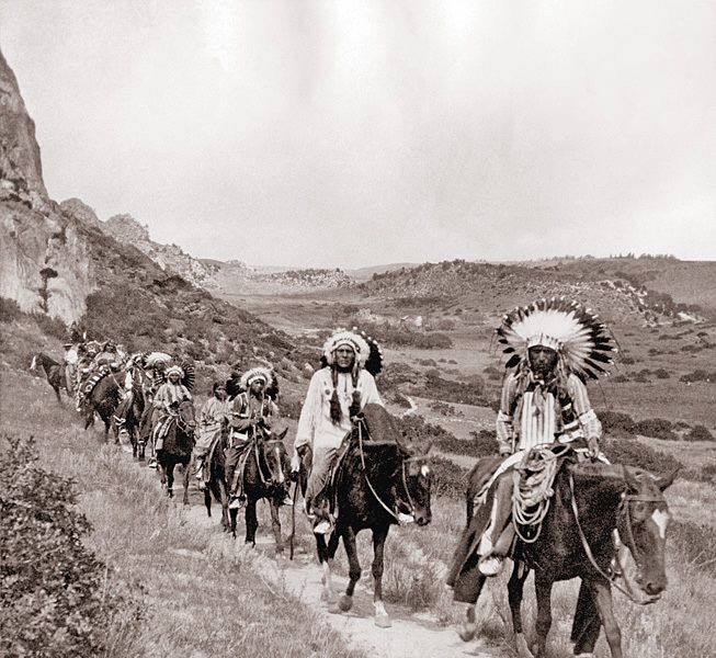 Comanche Indians in Palo Duro Canyon photograph taken 1890's on JA ranch Buffalo hunt with Teddy Roosevelt Charles Goodnight Chief Quannah Parker and Big Tree Lone Wolf Sr. Hunt was staged for Edison film crew.