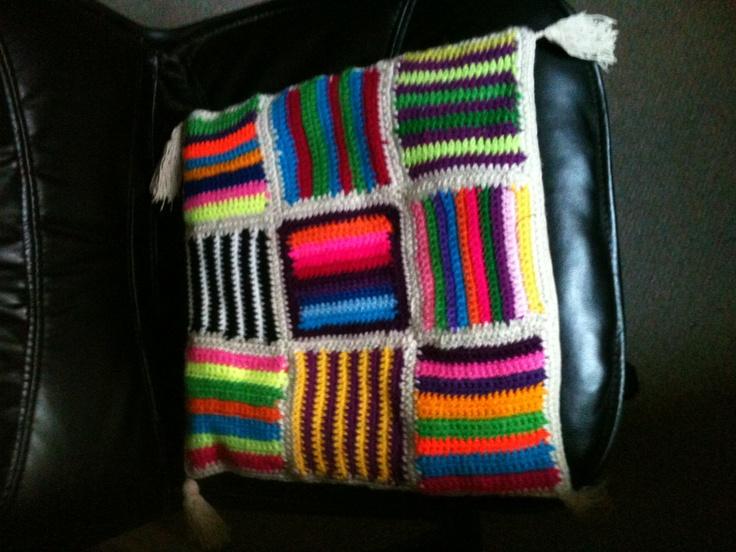 Cojin lana crochet