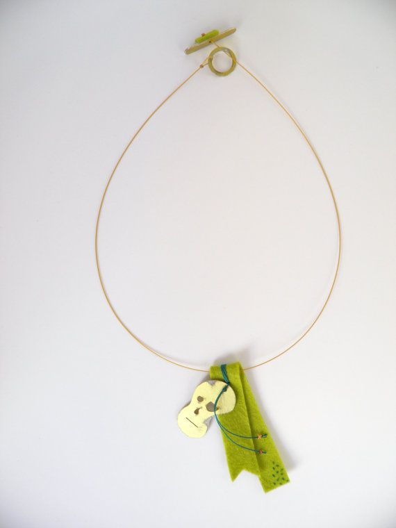 Mr. No Feelings Lime jewelry aluminum necklace  face lime by Ekubo, €25.00