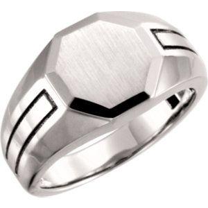 14kt White Mens Signet Ring