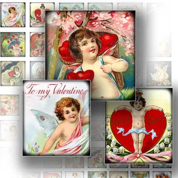 1x1 inch Valentine digital art collage sheets for scrabble tiles jewelry making paper supplies Victorian Valentine