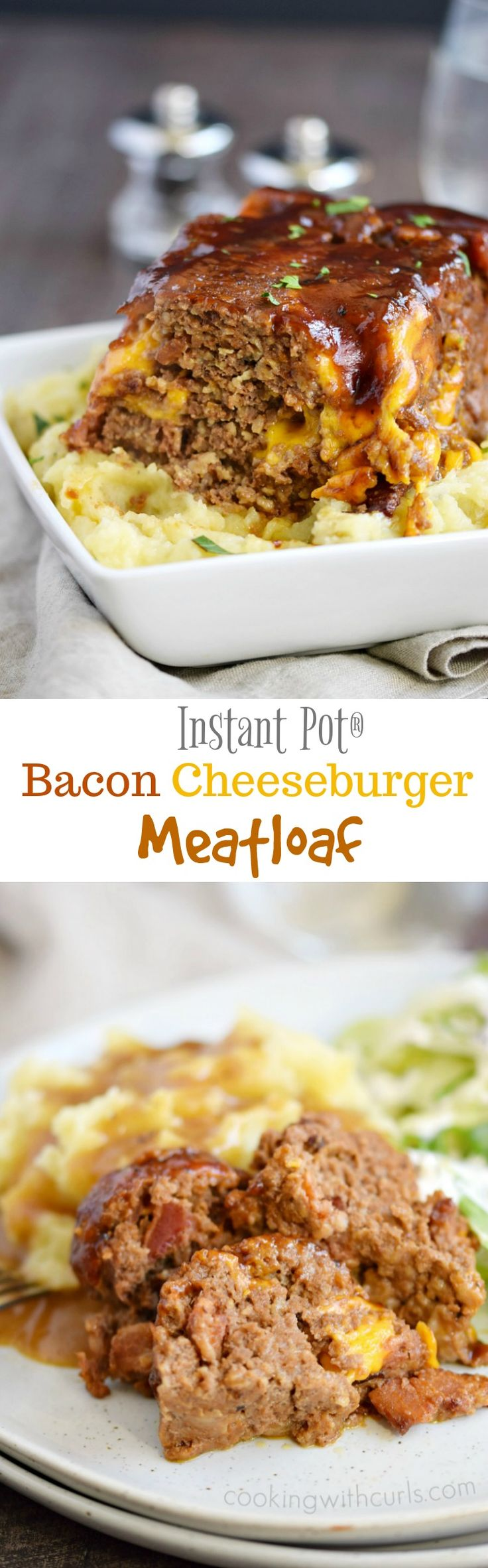 You will not believe how easy this Instant Pot Bacon Cheeseburger Meatloaf meal is to make, and it even includes mashed potatoes and gravy! Gluten-free option | cookingwithcurls.com