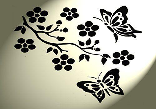 """Трафарет Потертый Шик """" Узор Бабочки дерево в деревенском стиле Формат A4 297 x 210 мм Отделка стен: Amazon.fr: Кухня & Дом"""