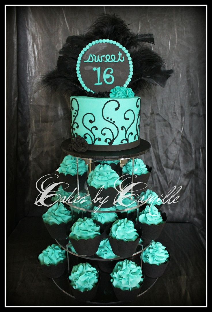 Chic Sweet 16 Cupcake tower - Black and turquoise theme with chic black feathers for that diva touch! Black cupcake wrappers and scroll patterns also add to the elegant look of this mod cupcake tower
