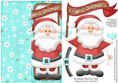 It s Santa Mini DL Cut n Fold Over The Edge Card on Craftsuprint - Add To Basket!