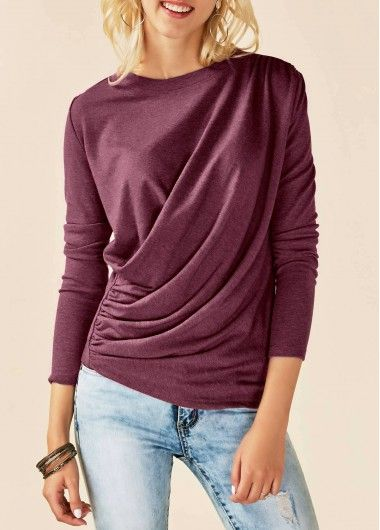 Burgundy Round Neck Long Sleeve Draped T Shirt on sale only US$30.64 now, buy cheap Burgundy Round Neck Long Sleeve Draped T Shirt at liligal.com