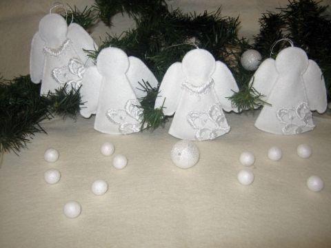 Csipke rátétes Angyalok , Otthon, lakberendezés, Dekoráció, Karácsonyi, adventi apróságok, Karácsonyi dekoráció, Meska