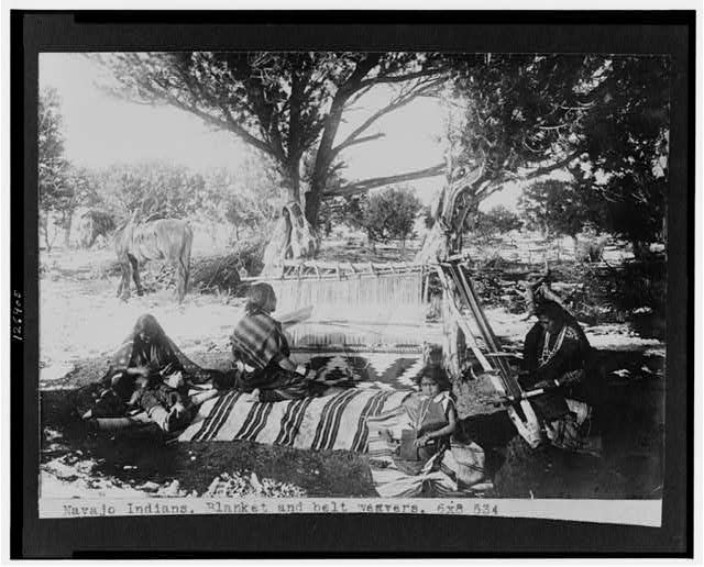 Navajo Indians, blanket and belt weavers / taken by James Mooney, 1892-93. National Photo Company Collection, Library of Congress Prints and Photographs Division.