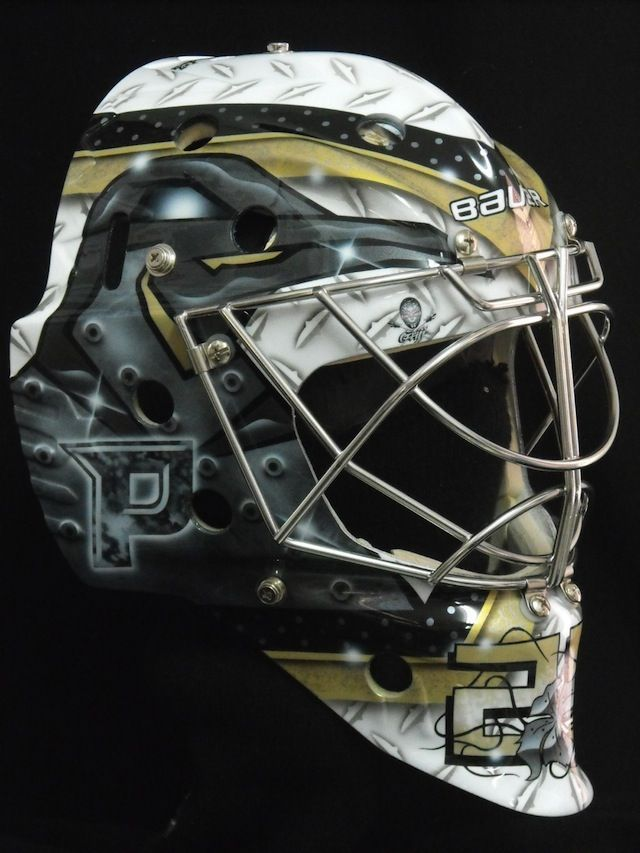Marc-Andre Fleury Goalie Mask Pittsburgh Penguins. One of the coolest masks in the game.