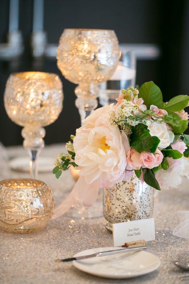 Mercury Glass wedding centerpiece - Erin Johnson Photography