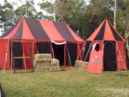 Set up before the hub bub begins... 15th.C encampment.  Abbey Medieval Festival.