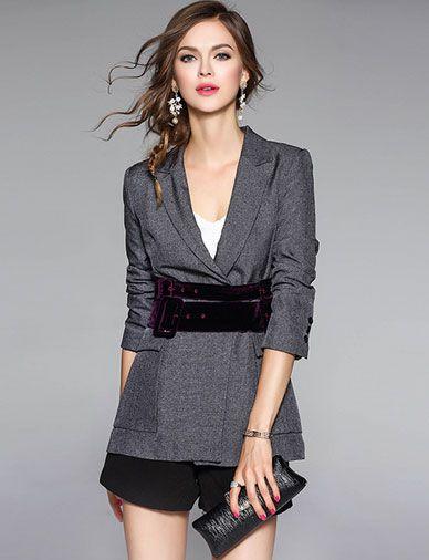 Stylish Slim Fit Lapel Blazer and Black Shorts
