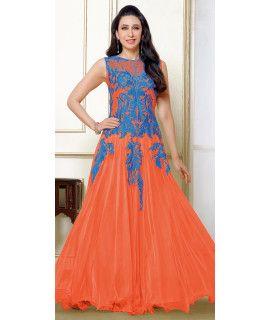 Attractive Orange And Blue Net Anarkali Suit.