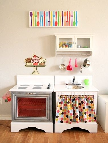 play kitchen ~ one of my favorite childhood memories is playing with the play kitchen my Grandpa made for my sister & I!