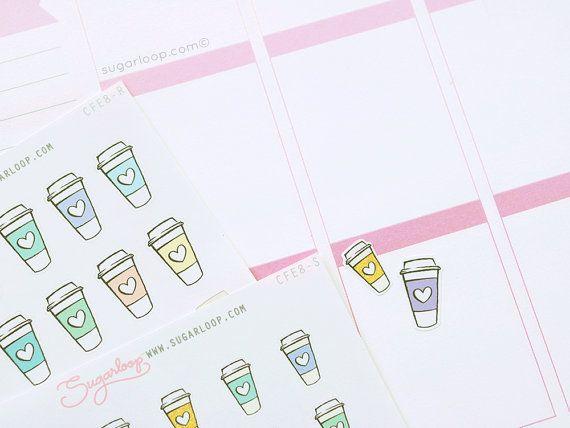 30 koffie planner stickers, koffie datum, frap, iced koffie, thee, warme chocolademelk, vergadering, herinnering, planner, agenda, dagboek, plakboek, CFE8