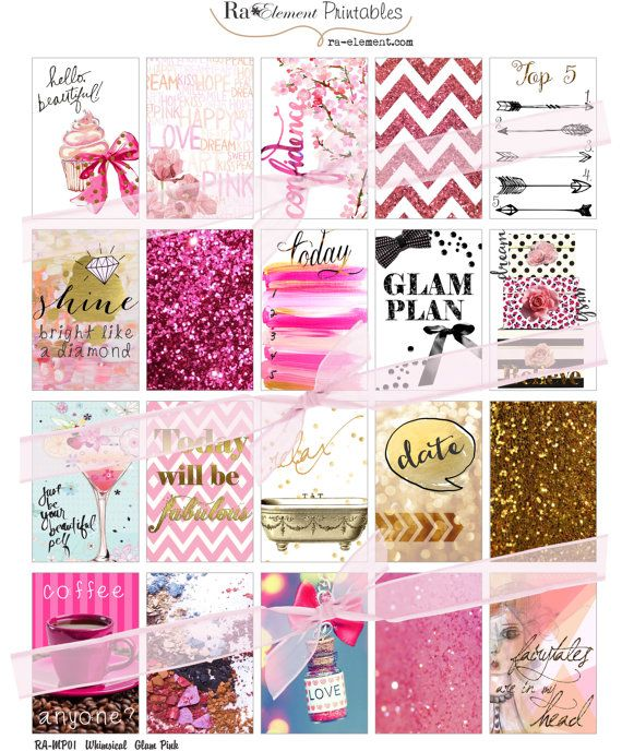 Digital 20 Pink Whimsical Glam Planner Stickers Sized by raelement