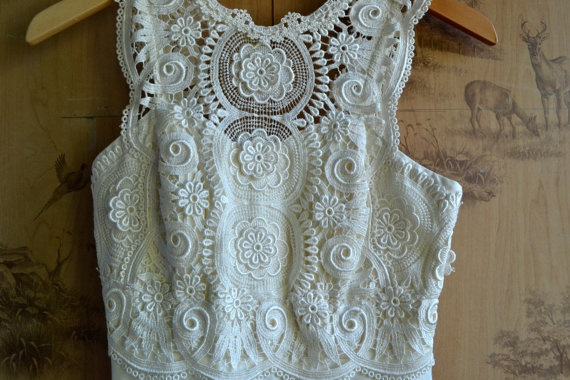Vintage White Lace Evening Gown / Sleeveless by thethirdcoast, $41.00