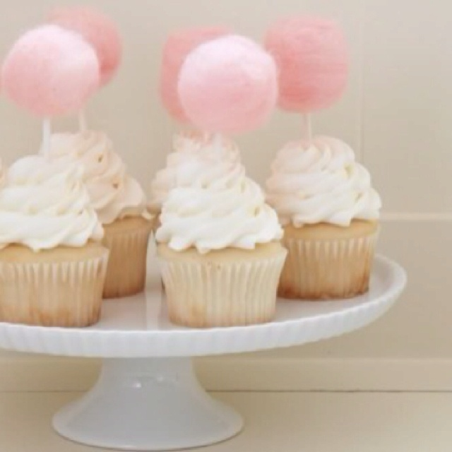 cotton candy cupcakes!!  cute for little girls!!!!! -Michelle