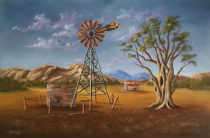"""""""OUTBACK WINDMILL"""" by Matt Symons. Paintings for Sale. Bluethumb - Online Art Gallery"""