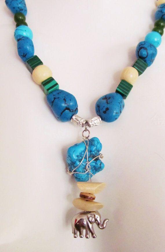 African elephant charm on semi precious necklace