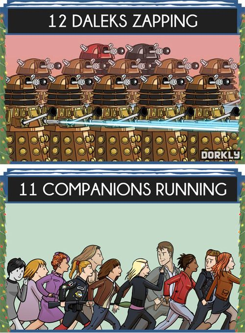 The 12 Days of Doctor Who: 12 Daleks Zapping, 11 Companions Running