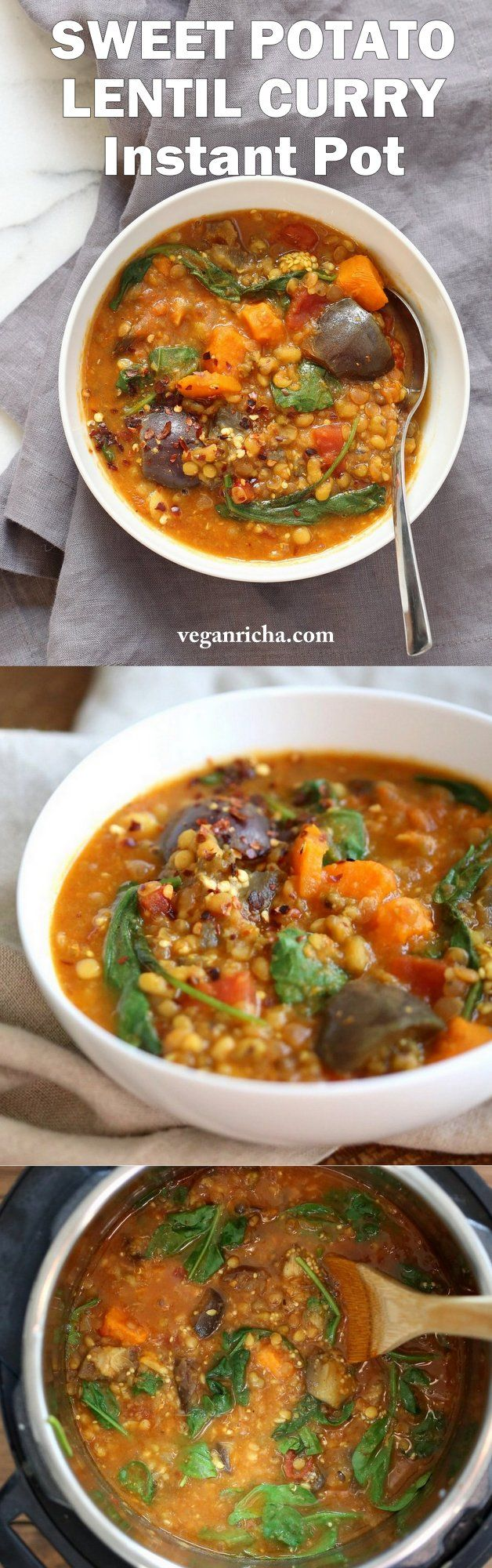 Instant Pot Eggplant Sweet Potato Lentil Curry. Mung Beans, lentils, spices, sweet potato and eggplant make a filling curry or soup. Use other veggies of choice.