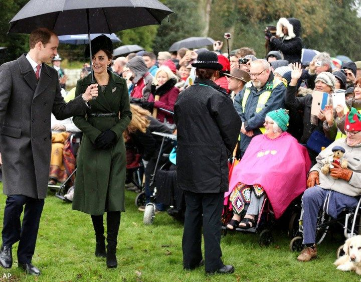 William and Kate exchanged Christmas wishes and chatted with well-wishers.  Christmas service at St. Mary Magdalene Church 2015.