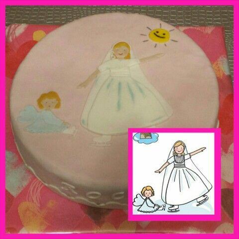 Tarta de Comunión, con el mismo dibujo que su postal recordatorio!  Enhorabuena Rocio!!