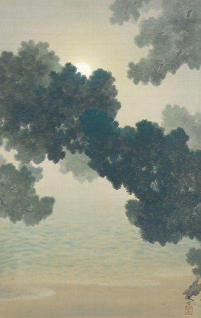 菱田春草 Shunso Hishida『松に月』(1906)個人蔵