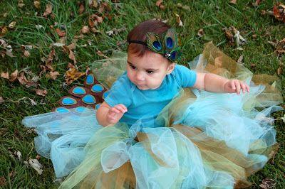 DIY Peacock Halloween costume for infant - toddler girl