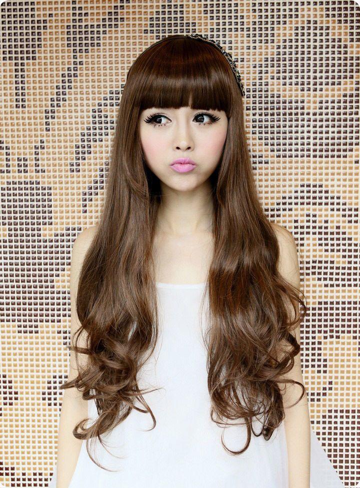Кк 004456 Женщин Волнистые Длинные Каштановые Волосы Полный Парики Новая Мода Косплей Парик Партии