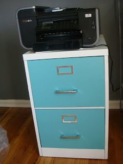 My first project in my new home office was updating an awful old black metal filing cabinet. I got a two-drawer filing cabinet for free on ...