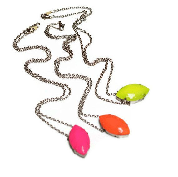 neon necklace pink Cats Eye by ColorblockShop on Etsy, $26.00