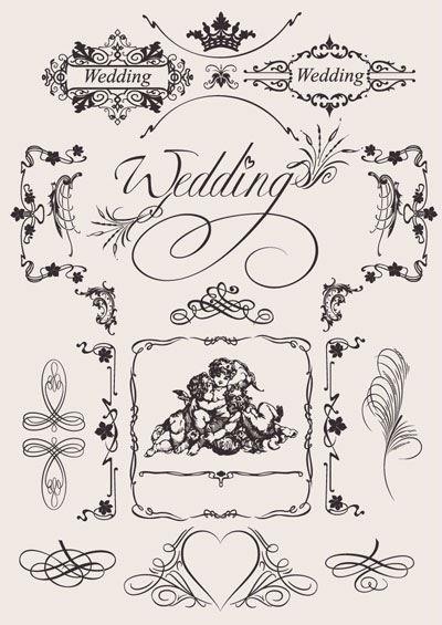 Set de filigranas vectoriales de tipo clásico, para marcos y adornos de página en documentos de estilo clásico.