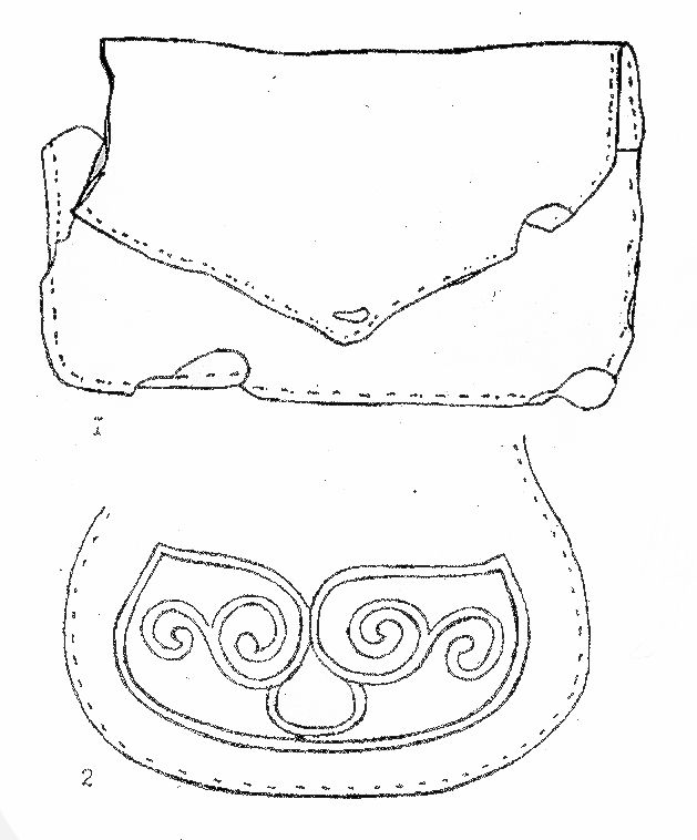 Two leather foldover pouches, one with decoration, from Novgorod. The upper pouch dates from the 11th century and measures 17 x 10.5 cm (Varfolomeyeva 1997:109, Figures 2.1 and 2.2).