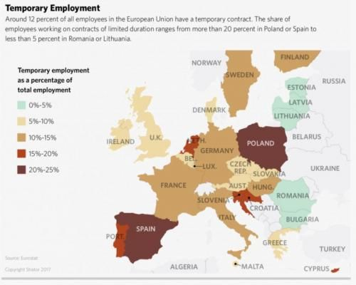 Mapping Europe's Temp Worker Epidemic | Trabajo temporal en la EU 2017
