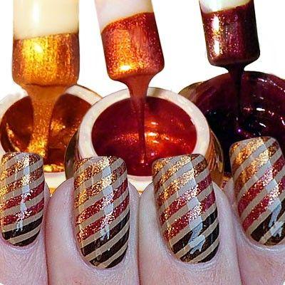 3 UV Gel colorati per una nail art sorprendente. Colori perlati: oro, copper, brown.