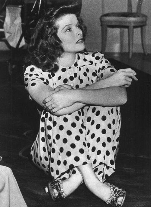 Katherine Hepburn in Polka Dot Pant Suit on the set of Woman of the Year, 1942. Vintage Polka Dots. ViNSiNN.com