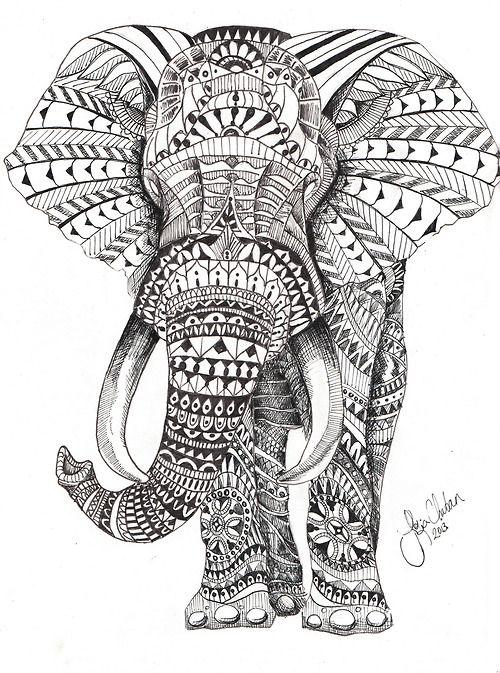 Aztec Elephant Drawing <b>elephant</b> porte bonheur by silalala  we heart it