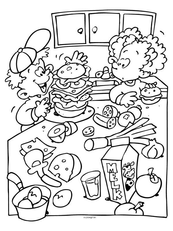 kleurplaat gezonde groenteburger kleurplaten nl