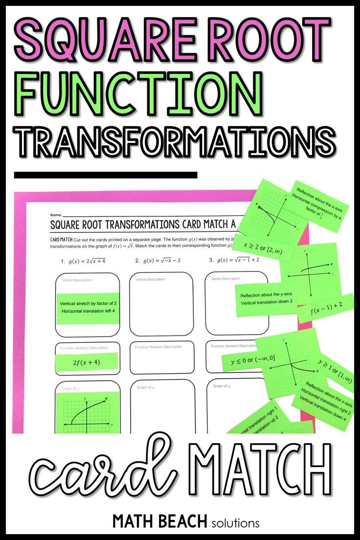 Square Root Transformations Card Match Activity Algebra Worksheets Algebra Resources Simplifying Radical Expressions