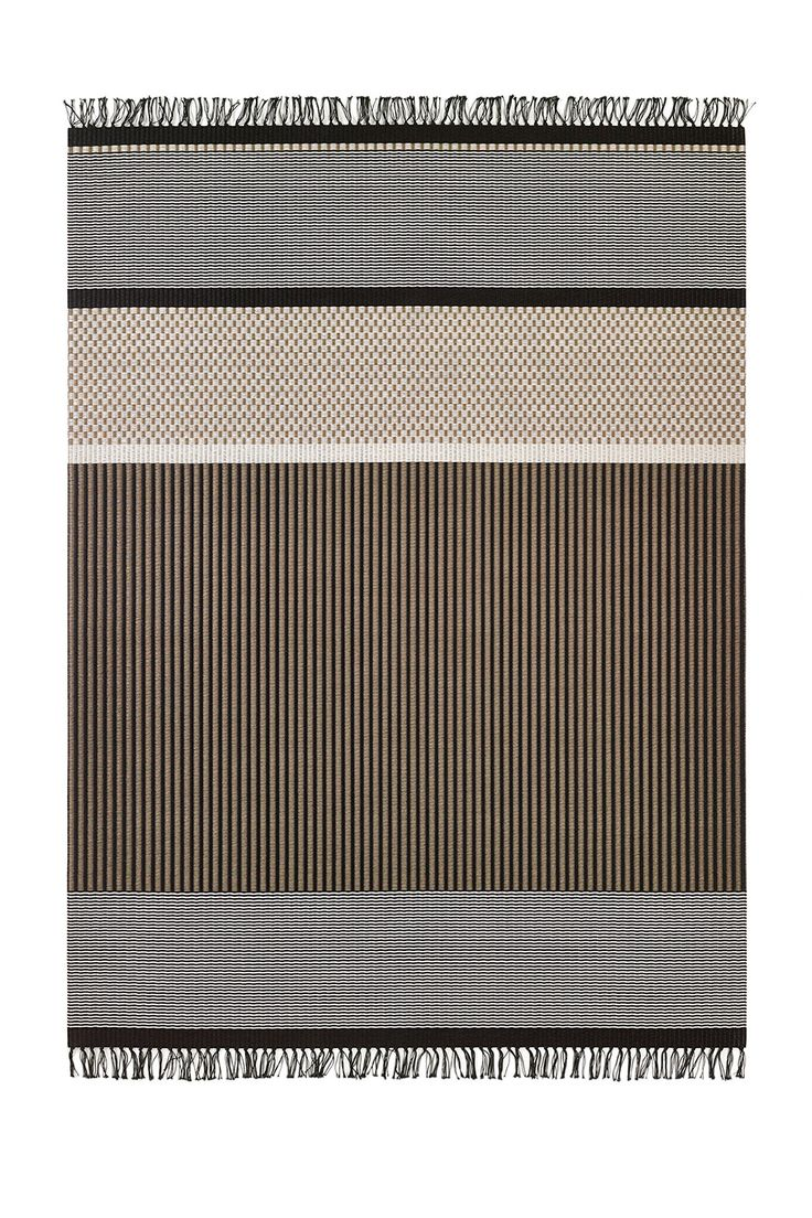 Woodnotes San Francisco paper yarn carpet col. nutria-stone. The San Francisco carpet's design is an asymmetrical combination of different vertical and horizontal stripes and squares. Design by Ritva Puotila