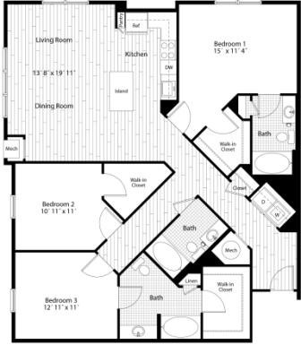 Looking for space?? Now available! 3 bedroom 3 bath floor plan, over 1500 sq. feet!!