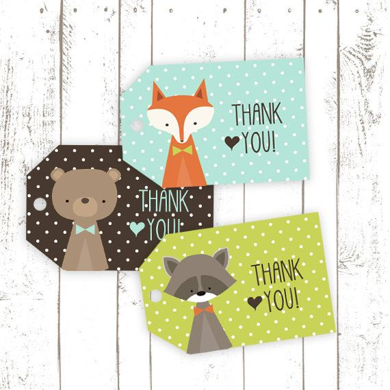 Thank You Tags, Printable Fox Tags, Party Favor Tags with Fox, Bear and Raccoon…