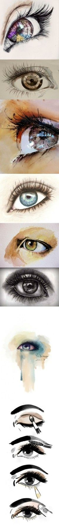 i absolutely love drawings && pictures of eyes. <3