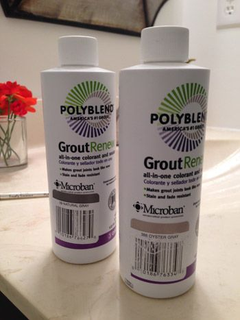 PolyBlend Grout Renew - urethane stain and sealer to whiten and refreshdingy, stained cement grout